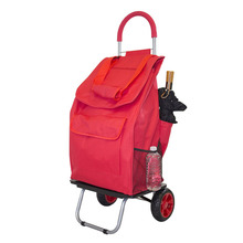 Trolley Red Shopping Grocery Bag Foldable Rolling Wheel Cart