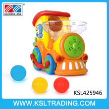 Interesting battery toy train with throwing balls for baby