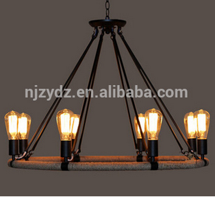 Classical style antique wrought iron chandelier Loft Pendant Lamp vintage drop light