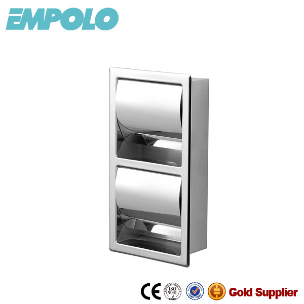 Empolo Funny Toilet Double Vertical Wall Built In Stainless Steel Toilet Paper Holder Roll Holder Tissue Holder