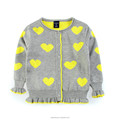 Factory online shopping heart cartoon jacquard beautiful knitting patterns children cardigan sweater
