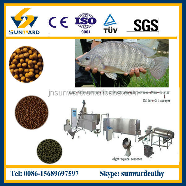 Professional twin screw floating fish food installation,making machine