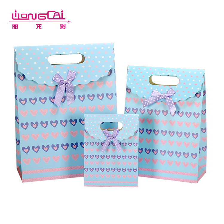Latest design customised offset printing fancy die cut small paper gift bag