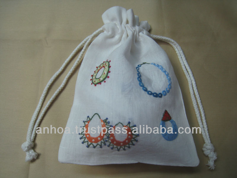 100% cotton hand embroidery drawstring pouch bag