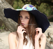 New Women Beach Hat Lady Cap Wide Brim Floppy Fold Summer Sun Straw Hat