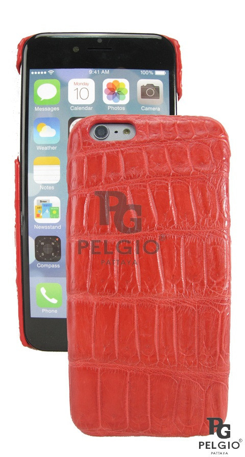 "PELGIO Genuine Crocodile Belly Skin Mobile Phone i6 4.7"" Hard Case Red"
