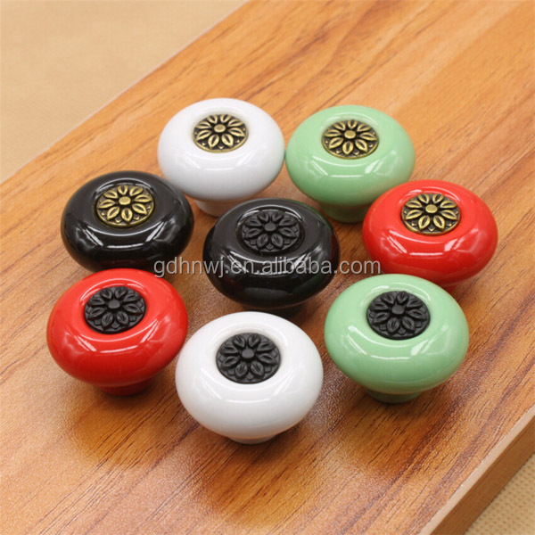 Manufacture decorative colorful round ceramic porcelain cabinet knob