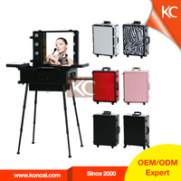 Professional make up case with light mirror, hairdresser trolley case, stand up make up case