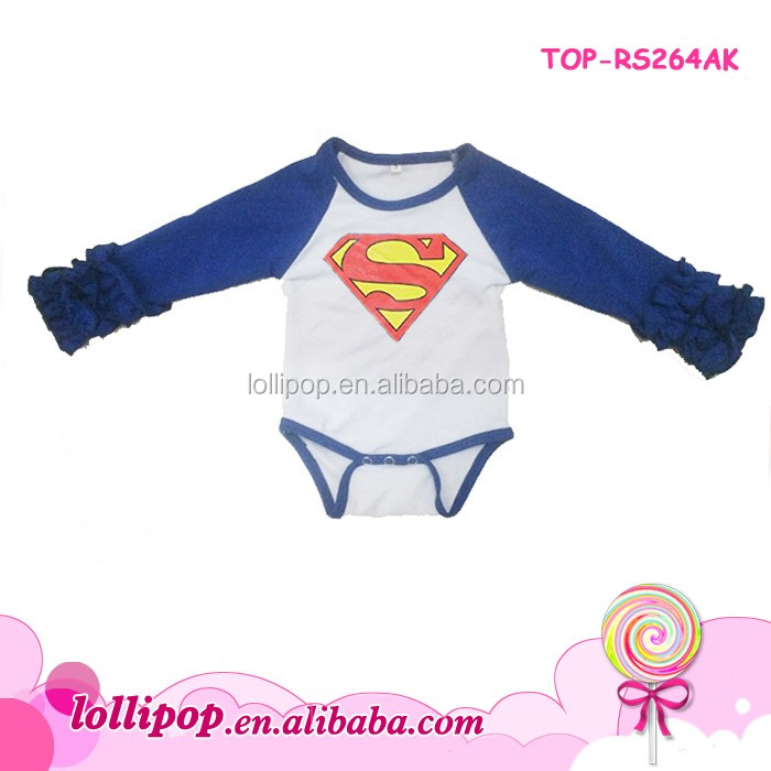 Baby raglan ruffle romper Superman cartoon cotton long raglan sleeve design baby one piece bodysuit
