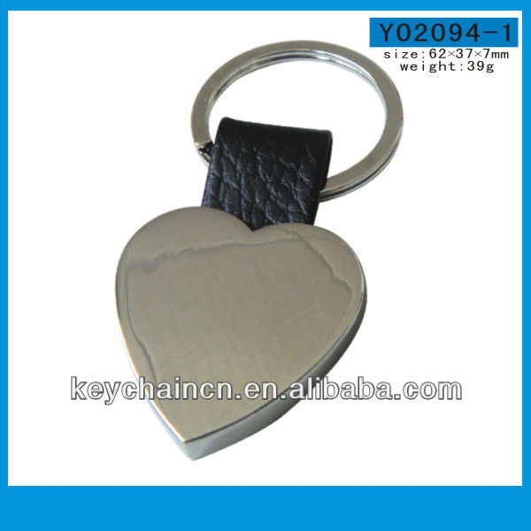 Y02094-1 Heart shape metal keychain with leather strap