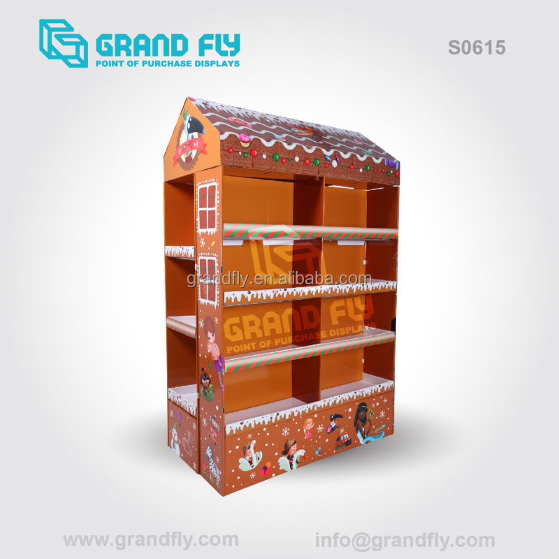 S0615 Christmas Promotion Floor Pallet Books Compartments Cardboards Display Stand