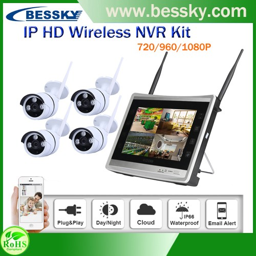 HD LCD wifi 720P 960P 1080P ip camer security camera system