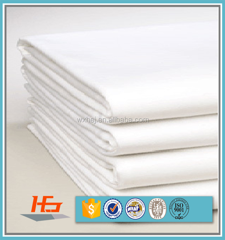 Percale Plain white 100% cotton fabric for hotel bed sheet