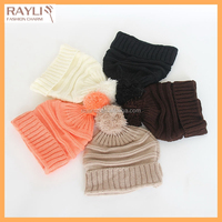 Wholesale unisex child slouch knit beanies with soft faux fur pom pom hats kids baby winter warm cap skull