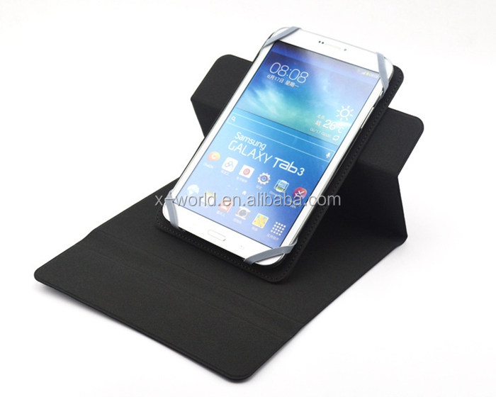 Book Design PU Leather Universal Folio Case for Tablet with Rotating Stand