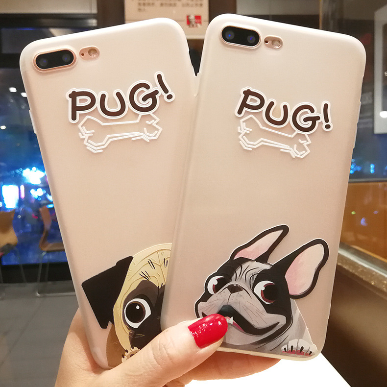Manufacturer Custom Printed tpu Cell Cover lovely pug Dog Design Mobile Phone Case Cover For iPhone 7 7plus