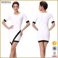 250g Sucker Fabric New Fashion Sexy Nighty Midi Slim White Dress Picture