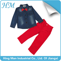 New fashion summer boy's jeans jacket with tie and pants.
