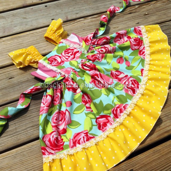 2017 new arrival fancy summer dress lovely kids rose flower summer dress children casual frocks designs kids summer dress