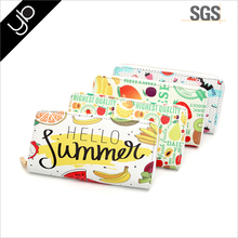 Wholesale high quality 3 layer bright color printed summer woman pu leather credit card wallet with metal zipper