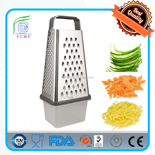 kitchen stainless steel multi 4 side cheese vegetable box grater slicer set with container