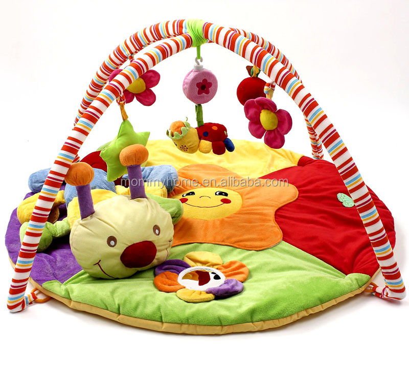 Wholesale caterpillar baby crawling indoor kids soft play mats with hanging toys M5082806