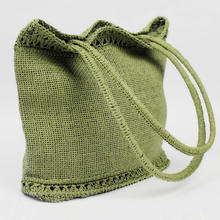Solid Green Large Capacity Summer Woven Fabric Handmade Crochet Paper Straw Beach Tote Bag