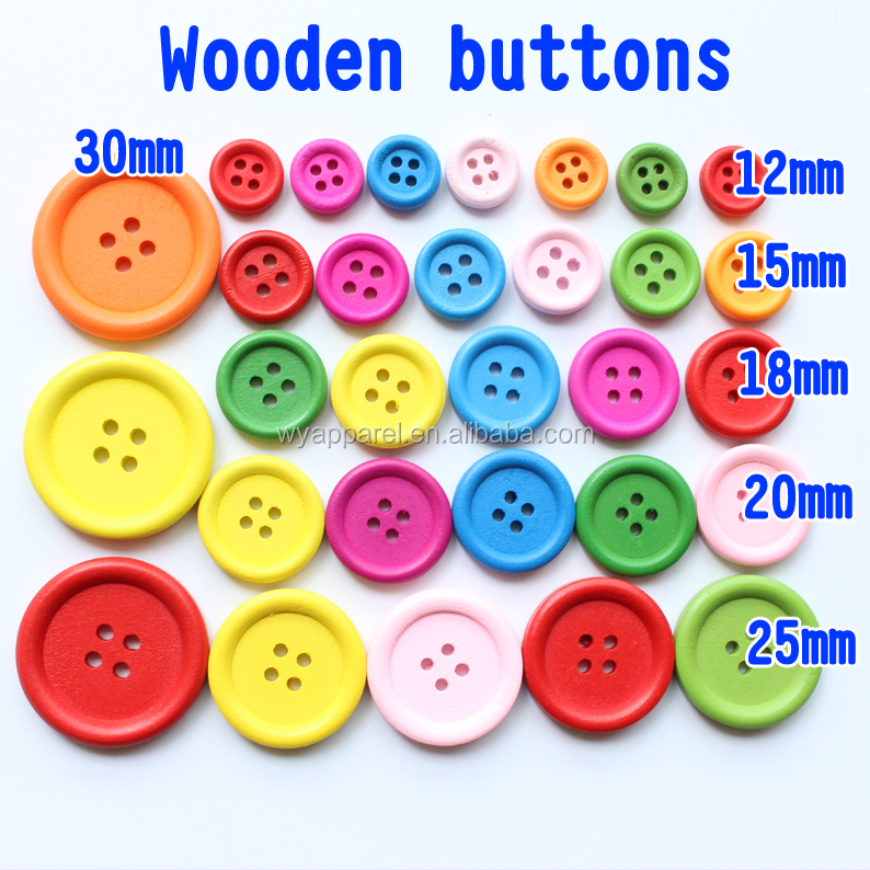 4 holes wooden buttons DIY wood buttons 12mm 15mm 18mm 20mm 25/30mm