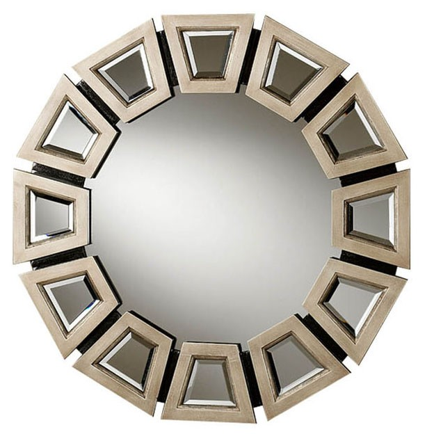 Abstract Twilight Round Wooden Frame Contemporary Wall Mirror