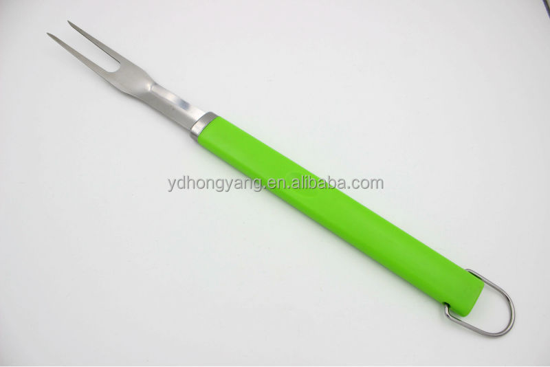 new green color PP handle with opener stainless steel 3pcs bbq grill tool set