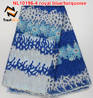 2016 latest dress designs french lace curtains of NL10196 royalblue
