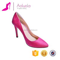 Elegant comfortable genuine leather pink women high heel shoes