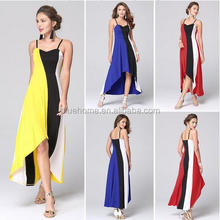 High quality strap design hollow out one-piece dress with big size striped long dress gored skirt