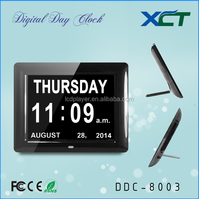 "8"" dual time dual date 12 h day clock digital led for elderly for seniors for dementia for memory loss DDC-8003"