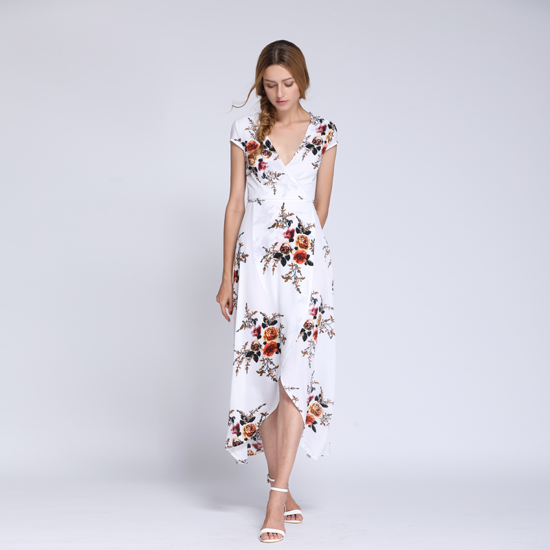 Wholesale latest chiffon printed casual gowns long frock summer beach dress