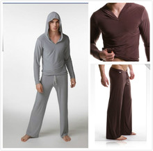 MOON BUNNY Men's yoga twinset tops+pants comfortable ice silk fabric sleep Sleepwear causal Home family pyjamas Night bath cloth