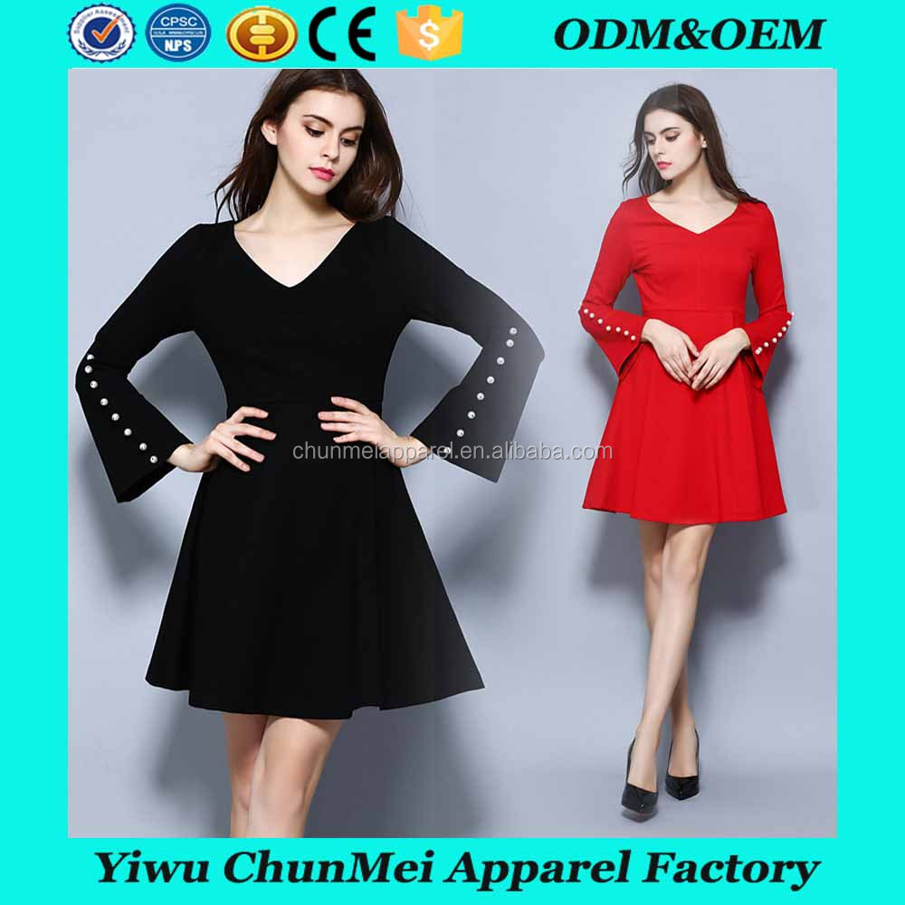High quality fancy dress v neck dress trumpet sleeve hollow out summer mini dress with pearl