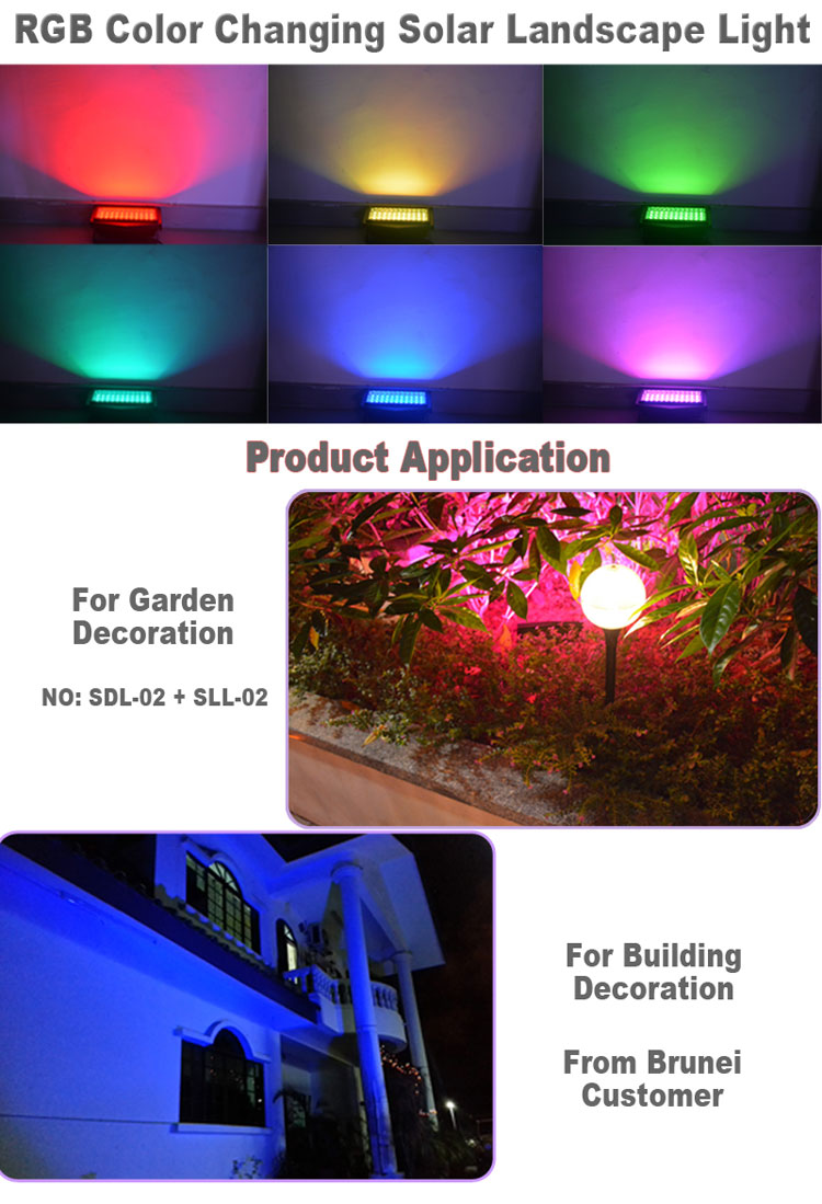 Solar Power Color Changing Outdoor Led Flood Light,Rgb Garden Led Light