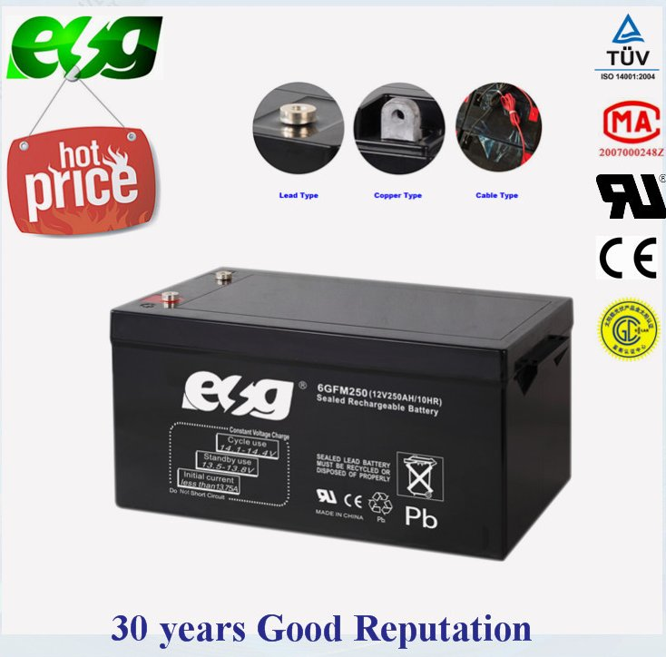 Deep cycle battery 12v 250ah solar storage battery ,agm battery with international certificate