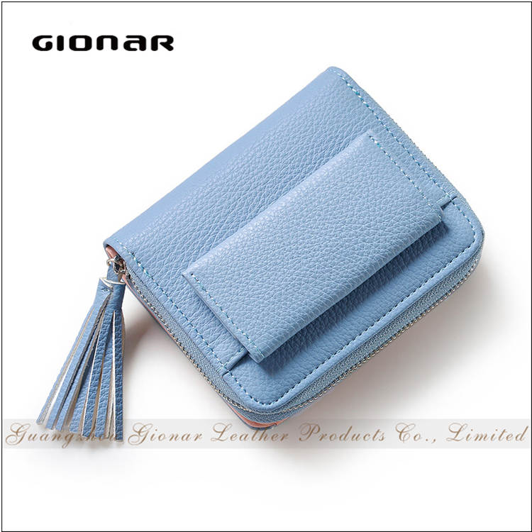 Fashional 3 Folds Tassels Young Lady PU Leather Custom Embroidered Wallet for Teens