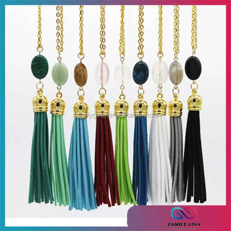 Wholesale Monogrammed Stone Tassel Necklace