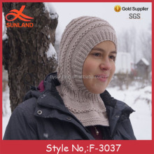 F-3037 new handmade winter outdoor snow beanie ski mask hat knit pattern for wholesale