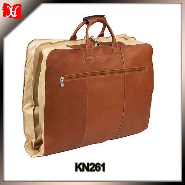 brown genuine cow leather garment suit travel bag