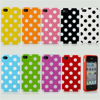 Laudtec Hot Lovely Polka Dots TPU Soft Silicone Case Cover Skin For iPhone 4 4S 4G
