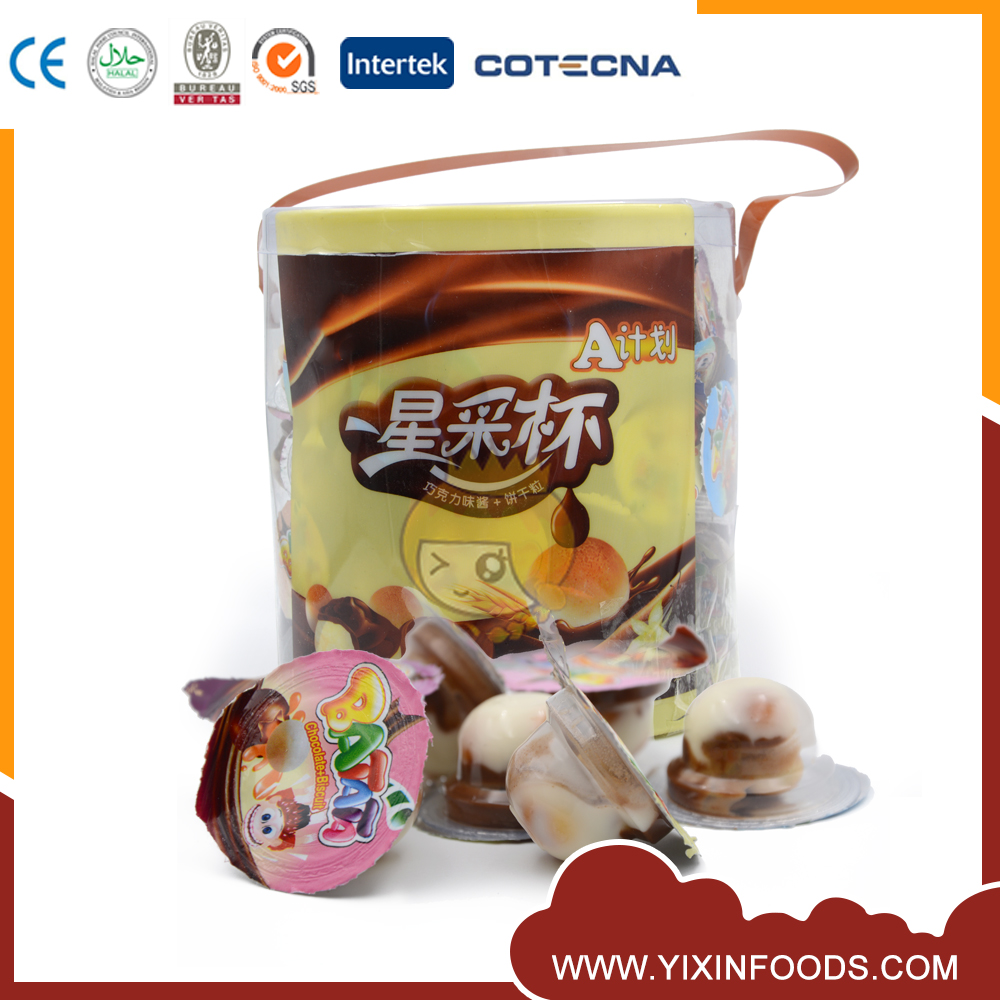 Children like yummy milky chocolate biscuit mini cup