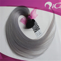 Competitive price,unprocessed brazilian virgin hair weft straight ombre 2 TONE black grey hair weave grey hair
