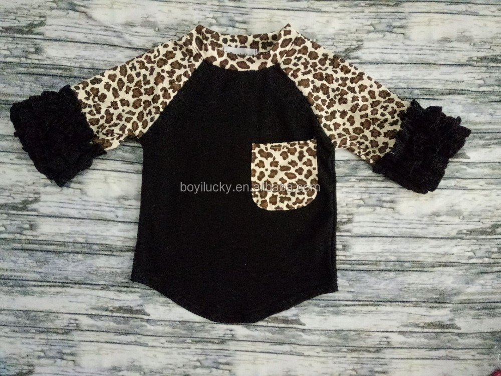 Retail 2016 Girls Clothing Sets Baby Kids Clothes Children Clothing Full Sleeve T Shirt Leopard ruffle Kid Girl Clothes