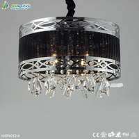 Iron K9 crystal black cloth shade led hanging light,crystal pendant lamp for style#HXP4013-9