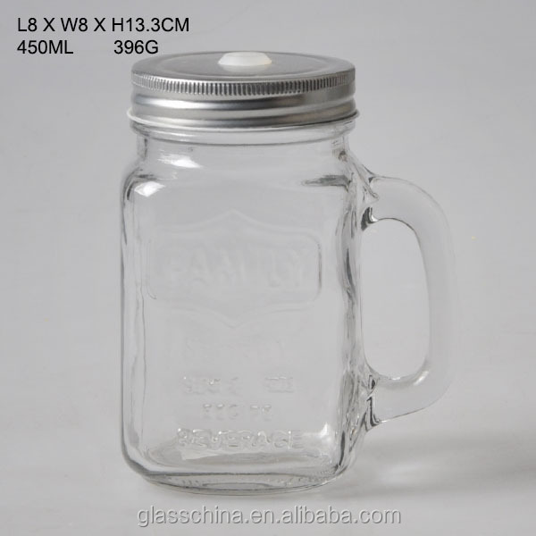Mason Jar Drinking glass with molded logo and handles