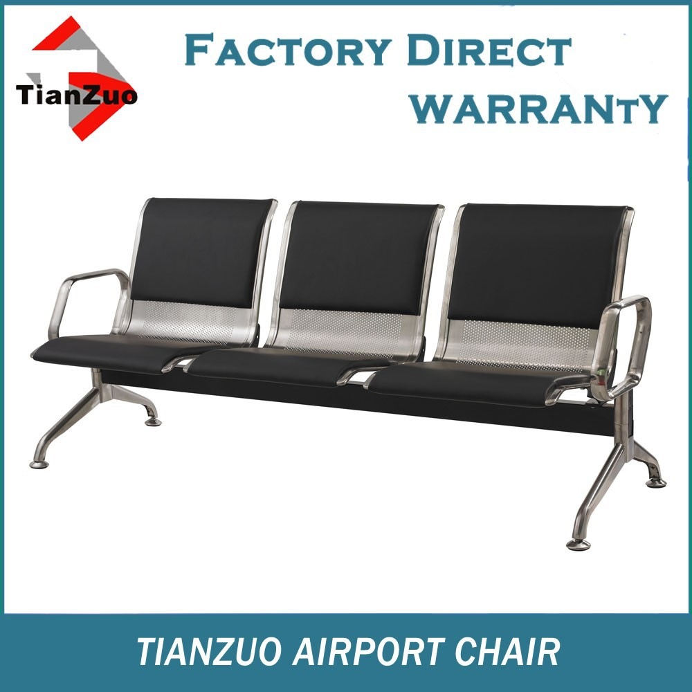 Stainless steel three seater waiting chair with pu seat